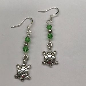 Jewelry - Turtle Charm Dangle Earrings Green Bead Accent